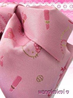 画像2: 国産浴衣向き作り帯(結び帯)HELLO KITTY ピンク系/コスメ柄 KTT-3