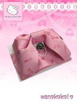 国産浴衣向き作り帯(結び帯)HELLO KITTY ピンク系/コスメ柄 KTT-3