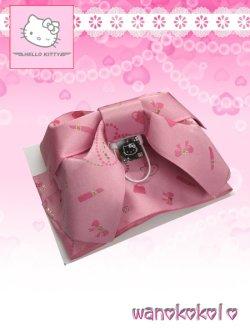 画像1: 国産浴衣向き作り帯(結び帯)HELLO KITTY ピンク系/コスメ柄 KTT-3
