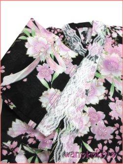 画像3: 女の子用子供甚平 可愛いレース付 110サイズ 黒系/八重桜柄 GJB-1119