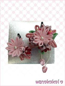 画像1: 七五三 女の子用手作り髪飾り「リトル・プリンセス」剣つまみ・りぼん鹿の子柄 ピンク系-24-QP-10-2