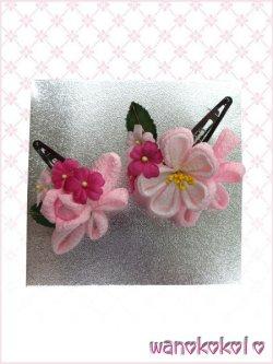 画像1: 七五三 女の子用手作り髪飾り「リトル・プリンセス」二重つまみ・薔薇・リボン ピンク系-23-S3-2