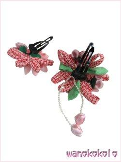 画像3: 七五三 女の子用手作り髪飾り「リトル・プリンセス」剣つまみ・りぼん鹿の子柄 ピンク系-24-QP-10-2