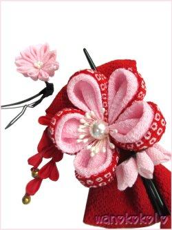 画像4: 七五三 女の子用手作り髪飾り「リトル・プリンセス」二重鹿の子・リボン・簪 23-KE-3