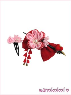 画像2: 七五三 女の子用手作り髪飾り「リトル・プリンセス」二重鹿の子・リボン・簪 23-KE-3