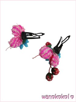 画像3: 七五三 女の子用手作り髪飾り「リトル・プリンセス」剣つまみ・ちんころ・苺 水色系-23-AA-4