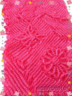 画像2: 七五三 女の子用正絹絞り帯揚げ ローズレッド系 別染め