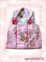 七五三着物 正絹三歳用被布コート 望 ピンク系/鹿の子絞り 桜取に鈴柄(刺繍入)NOZOMI-pink-4