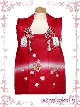 七五三着物 国産正絹三歳用被布コート 菱 赤系/花車・桜柄 HISHI-2