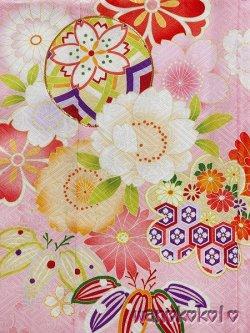 画像2: 七五三着物 七歳用の国産着物・振袖(四つ身)化繊・合繊「さざんか」ピンク系/桜・鞠柄(金駒刺繍入)「2」