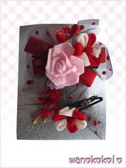 画像1: 七五三 女の子用手作り髪飾り3点セット★リトル・プリンセス ★薔薇・リボン・チュール【ピンク・赤系-24-QP-12-6】