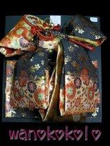 七歳用結び帯★段織金襴★ブラック・ゴールド/花柄
