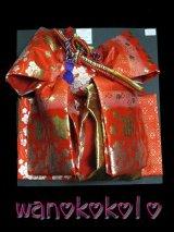 七歳用結び帯★段織金襴★朱赤・金/花柄